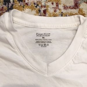 Perry Ellis Men's White Cotton Tee Sz Medium